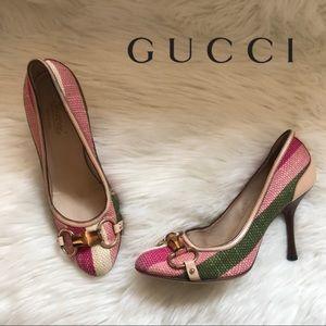 Gucci Horsebit Canvas Pink Green Heels 9B